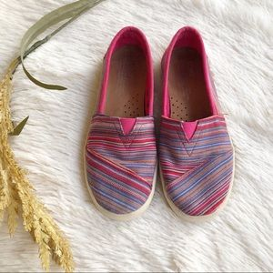 Toms Pink Striped Flats Canvas Slip on
